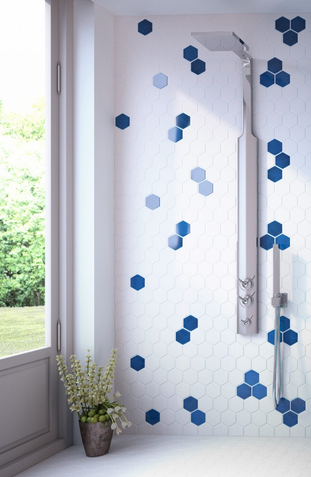 blue small hexagon tiles