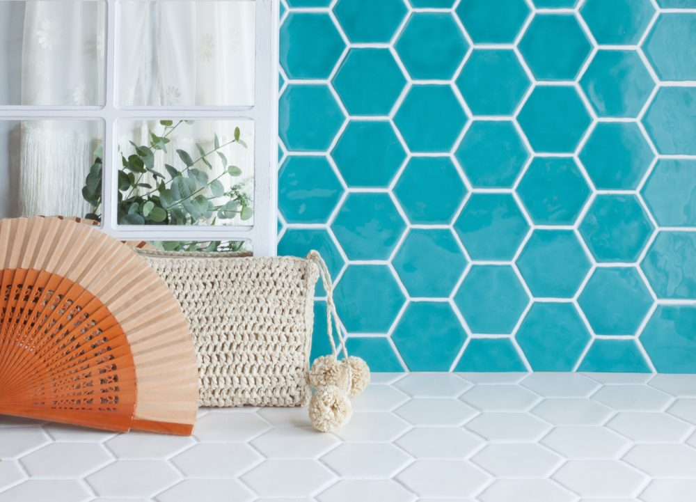 aqua marine art deco hexagon gloss tiles