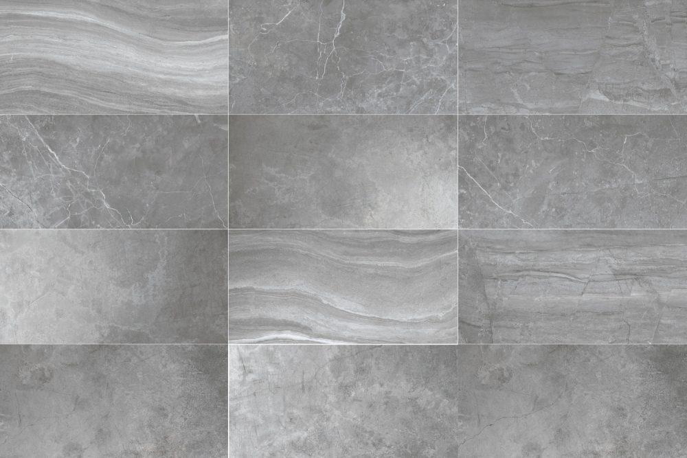 light grey oblong marble effect tiles