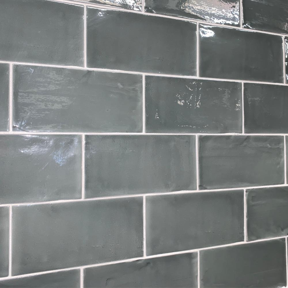 Bon Dark Grey - grey gloss metro tiles