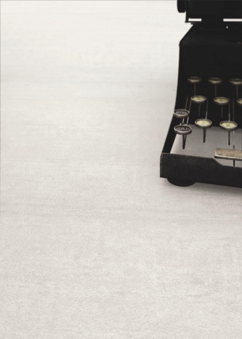 Cement effect white floor tiles