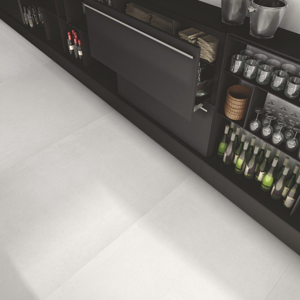 cement effect floor tiles in white