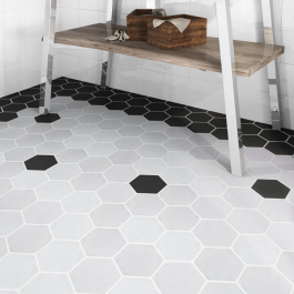 Art Deco Hex Cement Grey Matt