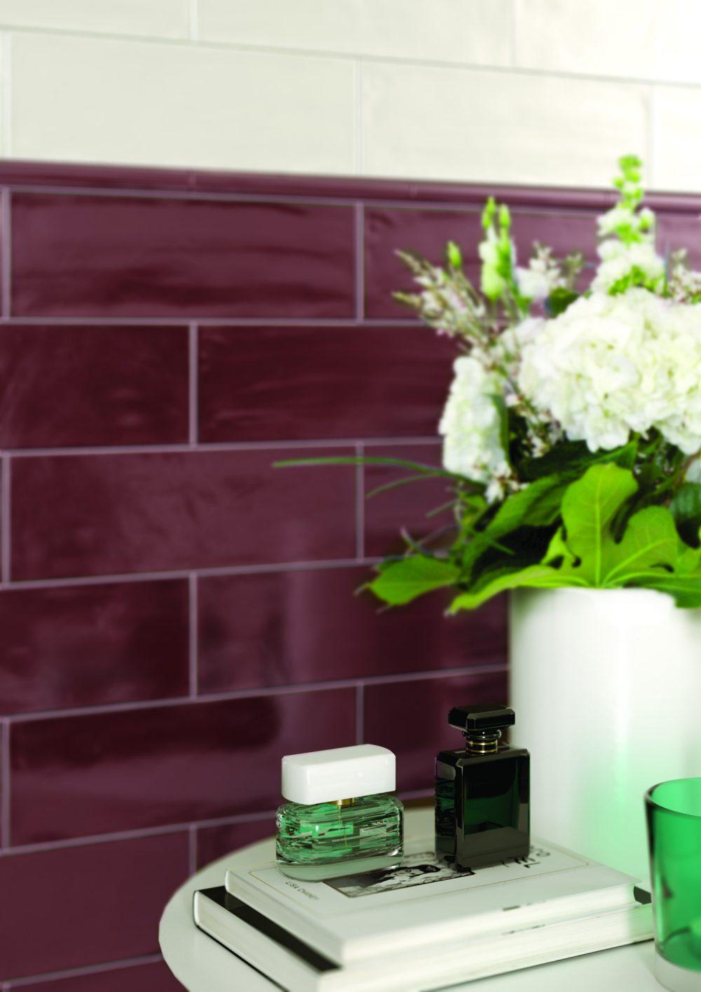 Farrow dark plum gloss metro tiles
