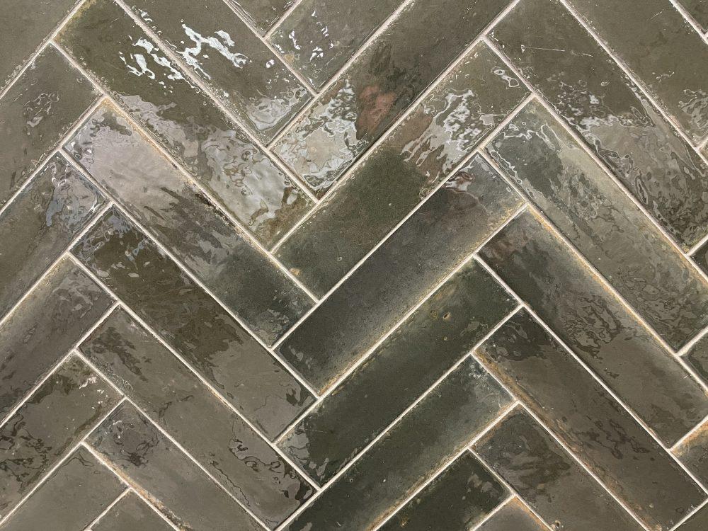 Lume metro tiles laid in herringbone pattern