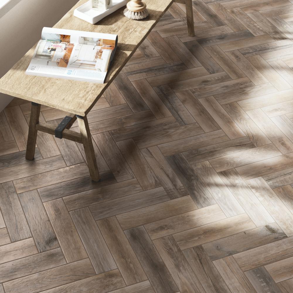 Treverkmade Cognac - herringbone wood porcelain tiles