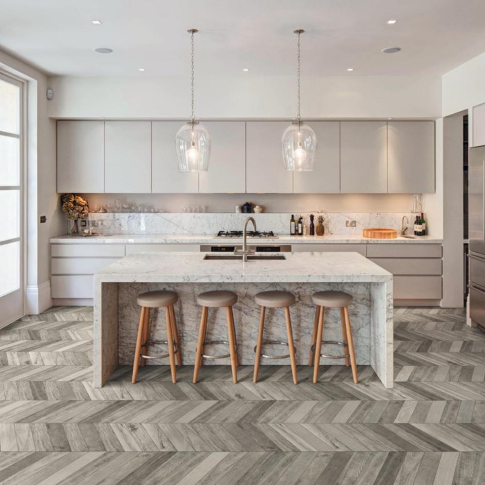 TreverkSoul Grey Chevron wood effect porcelain tiles