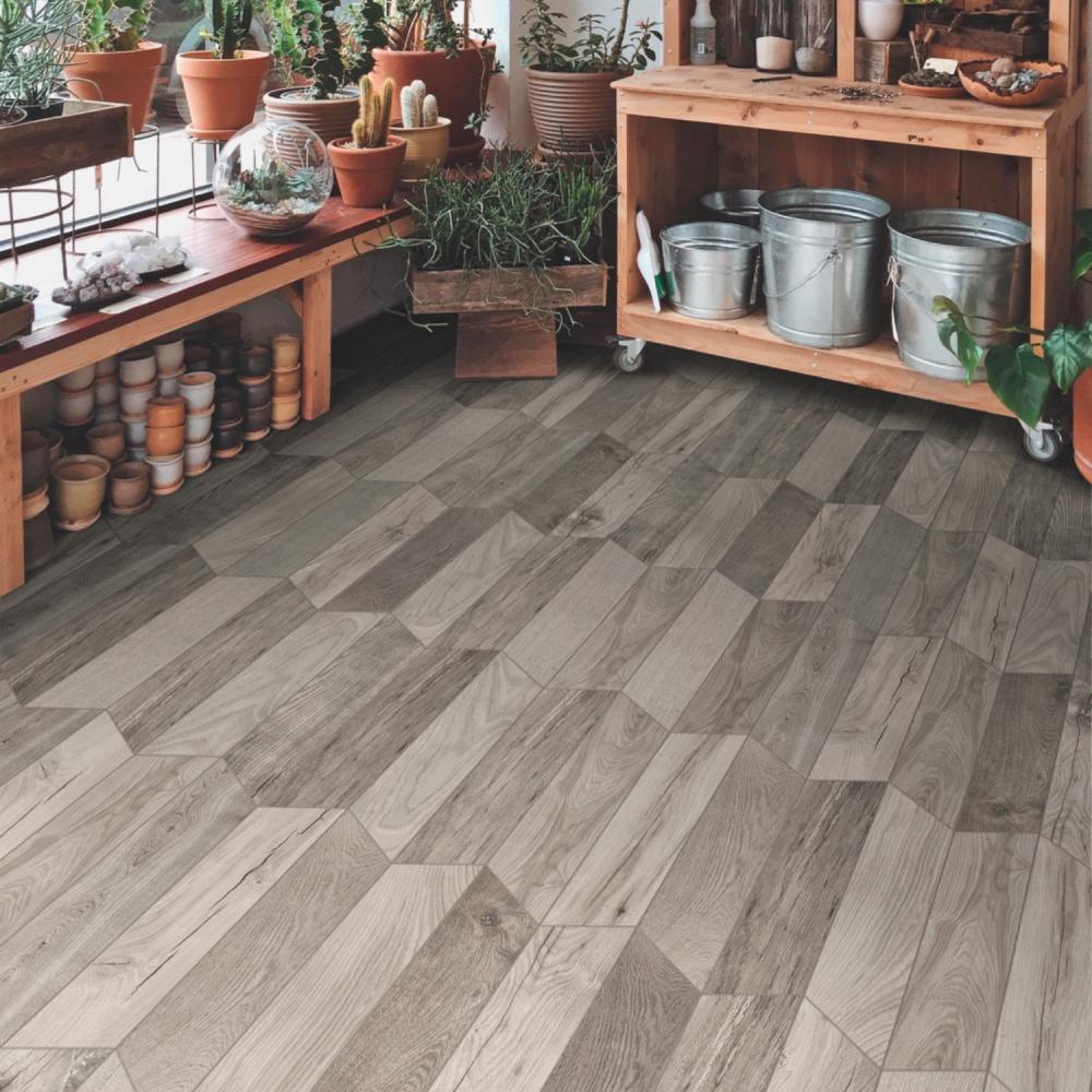 TreverkSoul Grey Chevron wood effect floor tiles