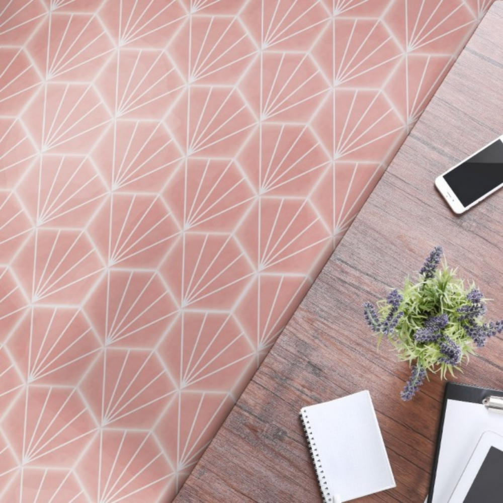 Stripes Pink Hexagon tiles