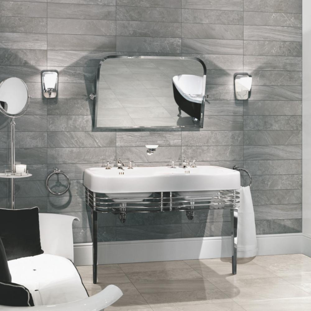 Blast Antracite - light grey oblong wall tiles