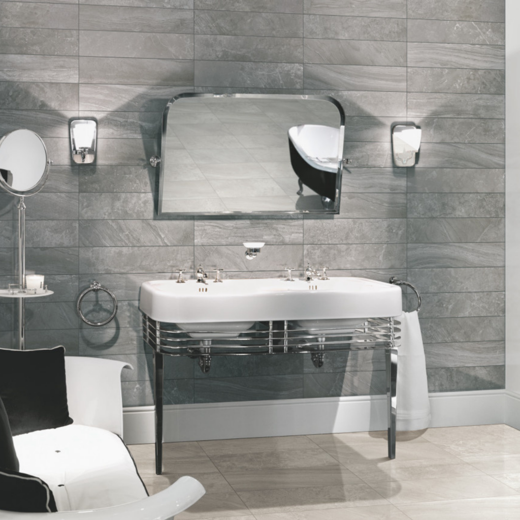 Blast Antracite - light grey oblong wall tiles