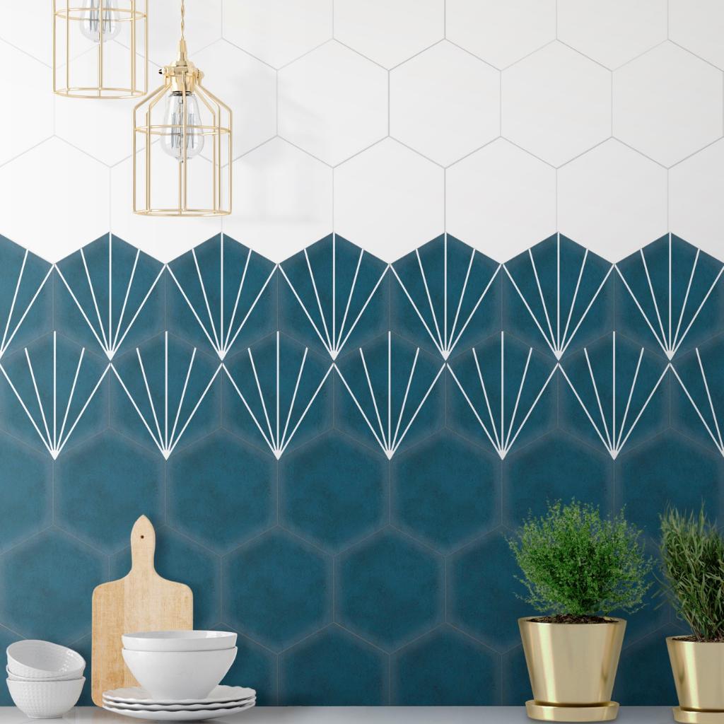 bright blue hexagon tiles