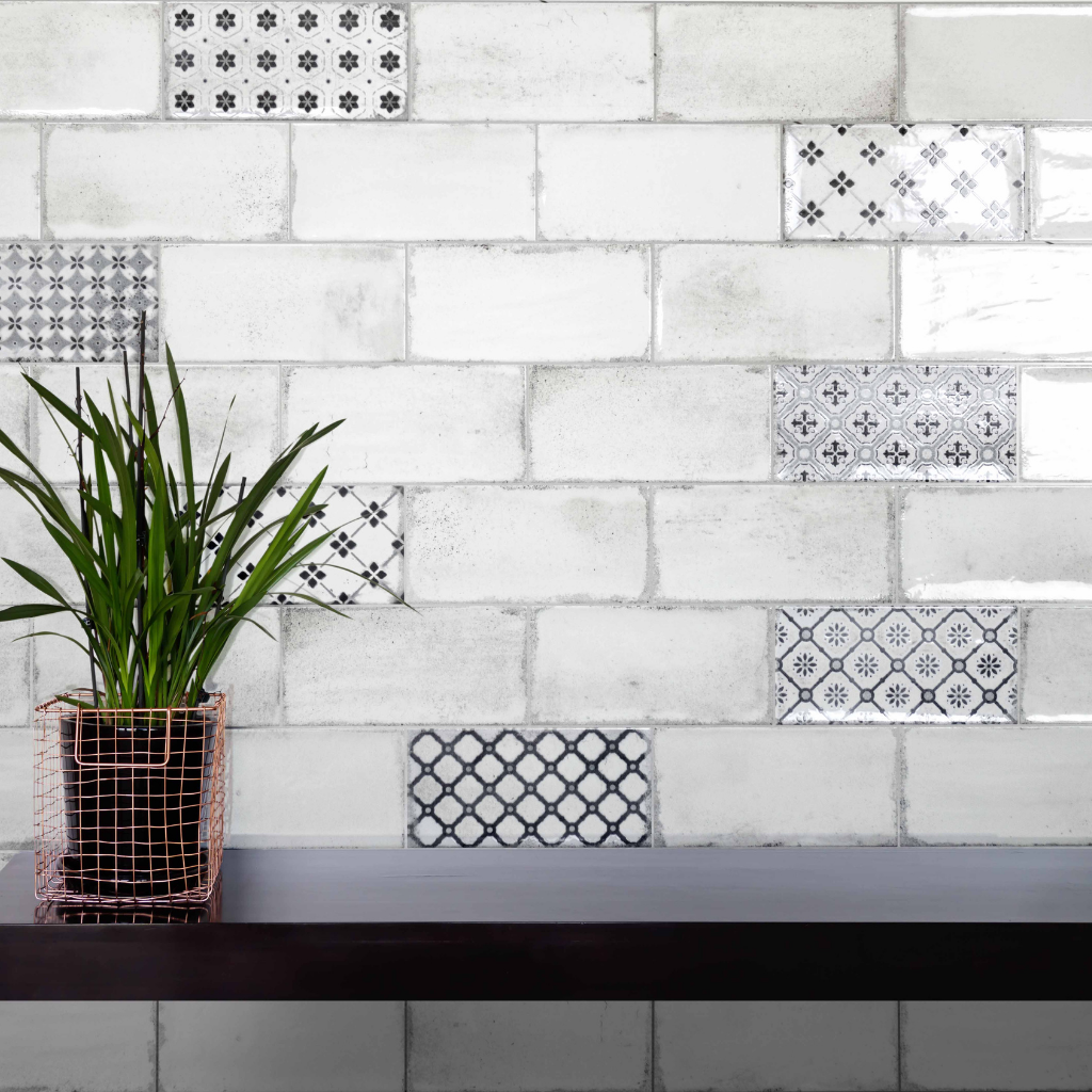 Harewood flower patterned worn look brick tiles