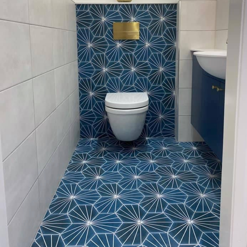 hexagon blue geometric tiles