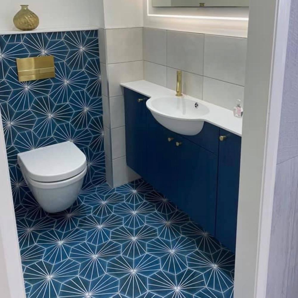 blue hexagon stripes tiles