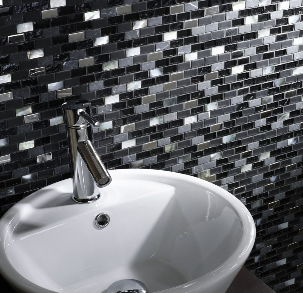 Pearl Brickmix Black mosaic Tiles