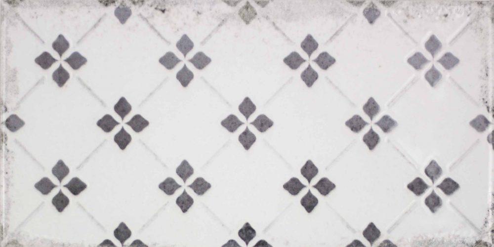 Harewood flower patterned worn look metro tiles