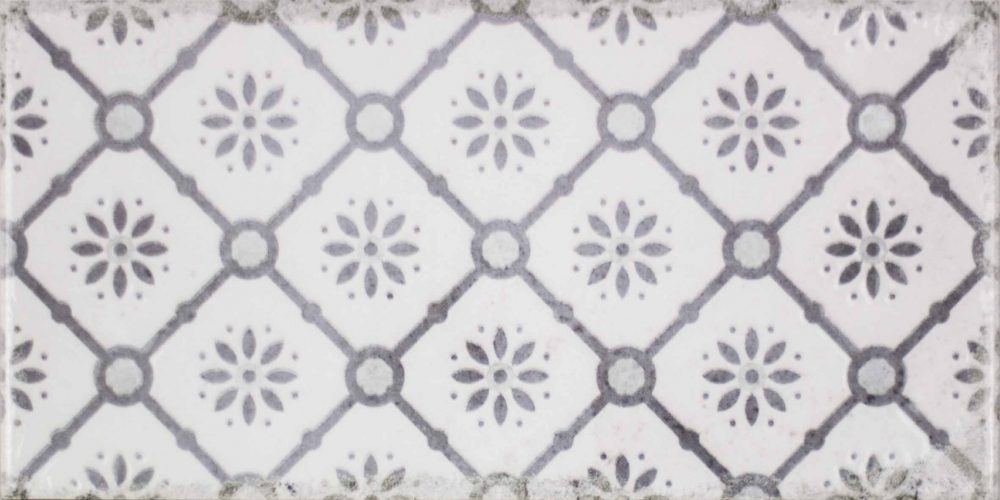 Harewood flower patterned worn look metro tiles