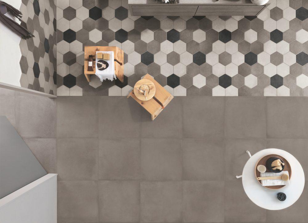 cream hexagon tiles - rewind hexagon