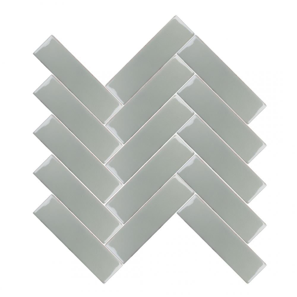 Amadis Willow tiles in herringbone pattern