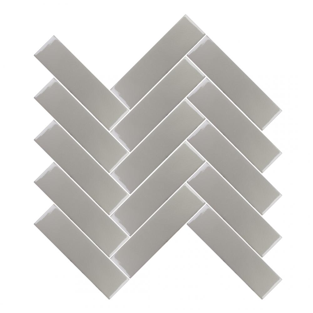 Amadis turtledove tiles in herringbone pattern