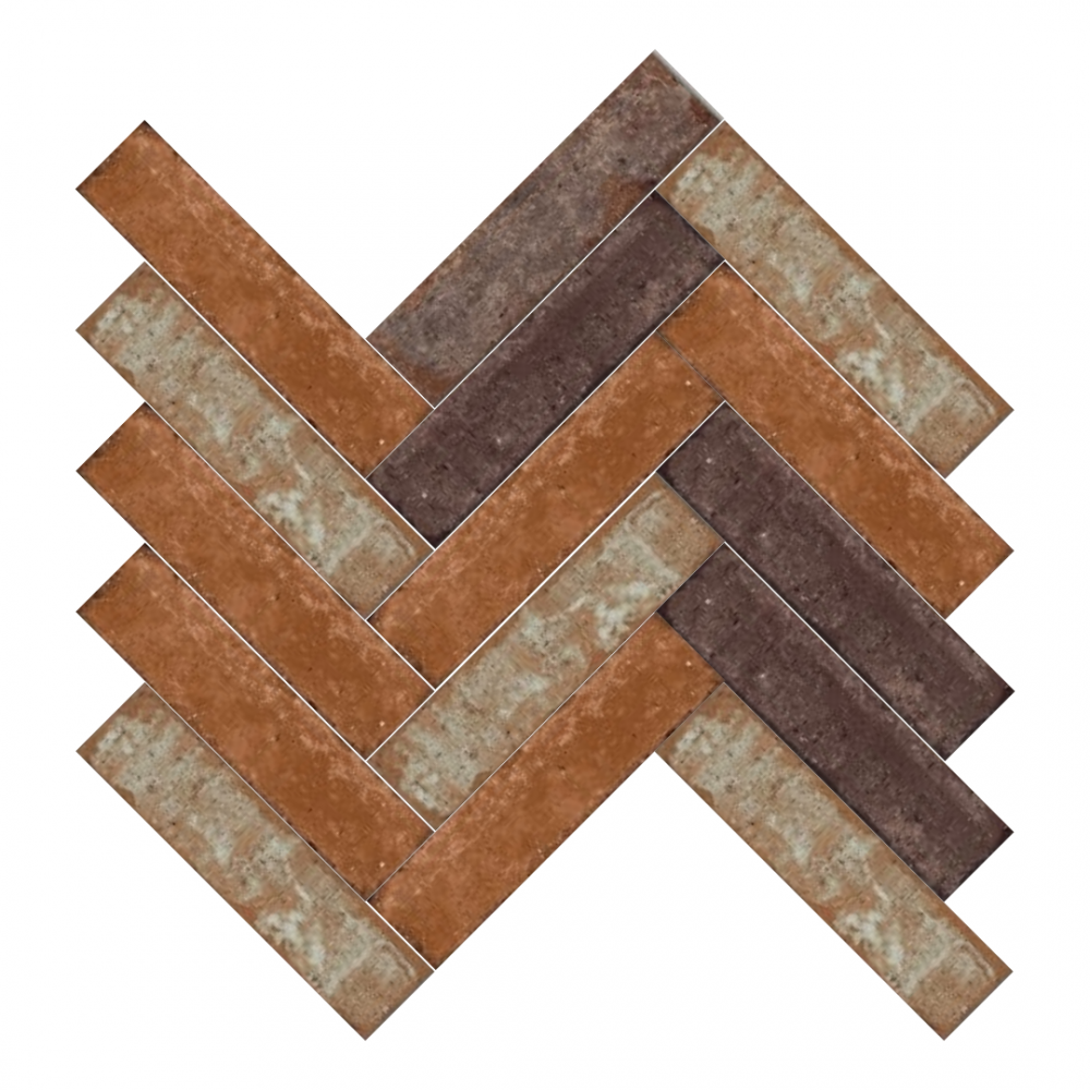 Bricklane Red tiles in herringbone pattern