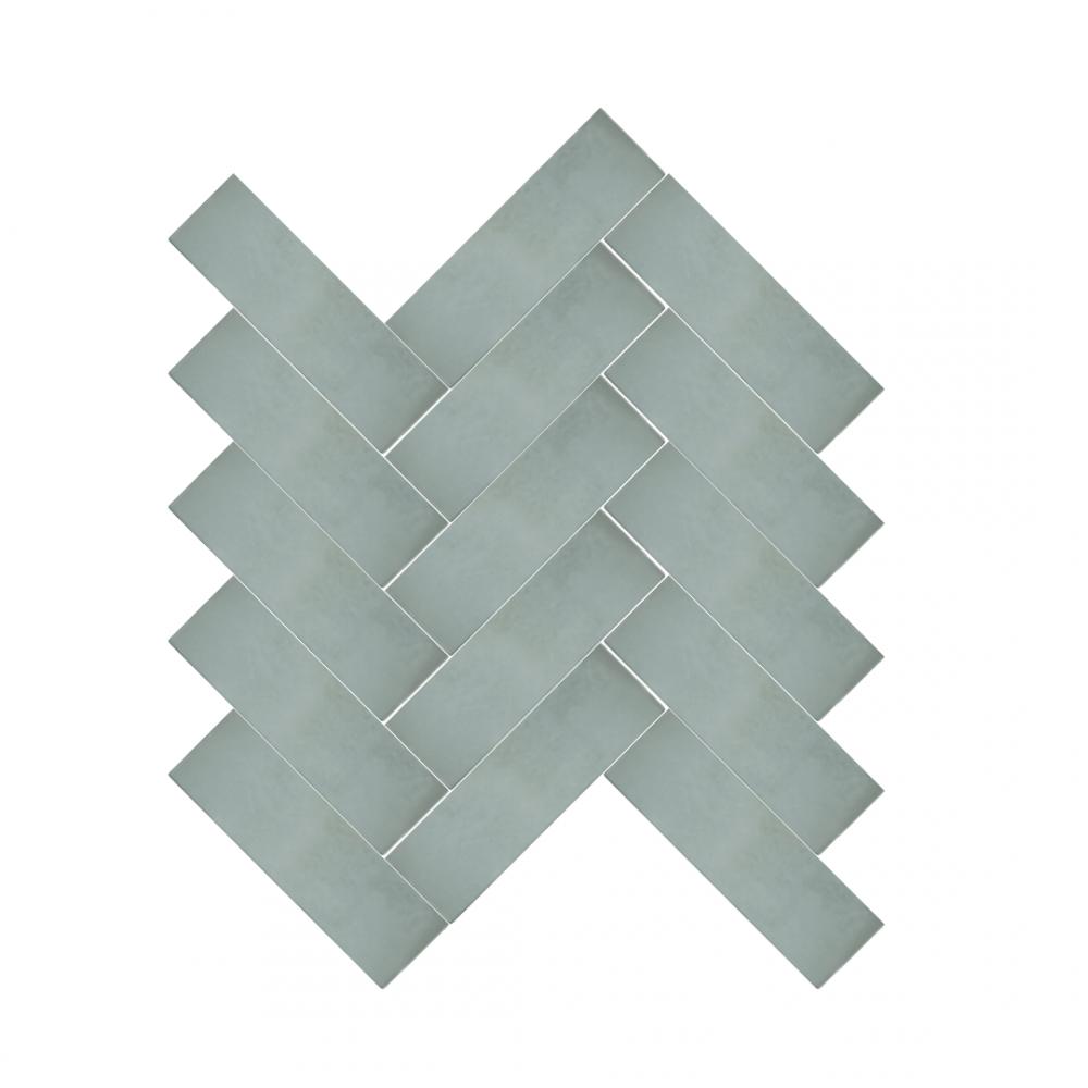 Cezanne Aqua tiles in herringbone pattern