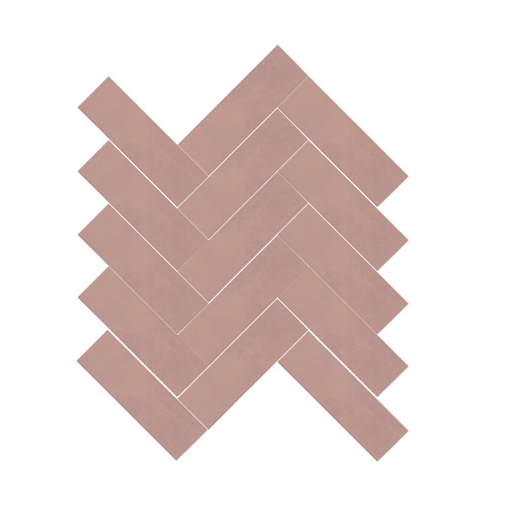 Cezanne Rose Pink Brick tiles in herringbone pattern
