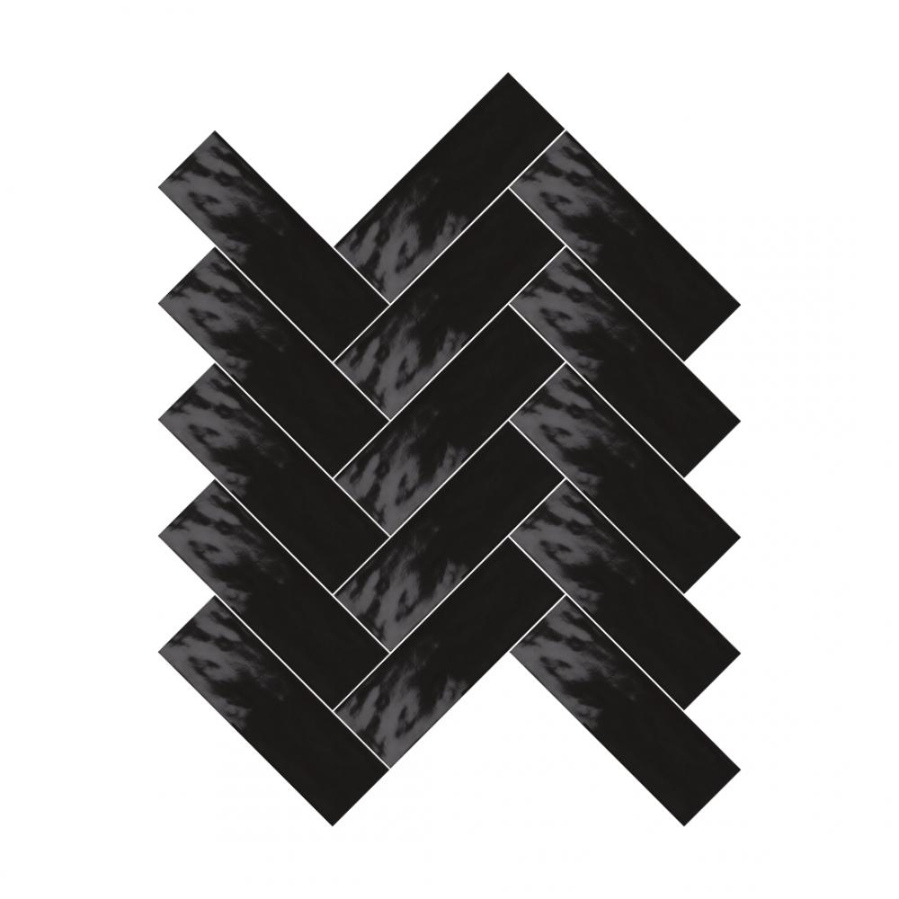 Farrow Charcoal Black tiles in herringbone pattern