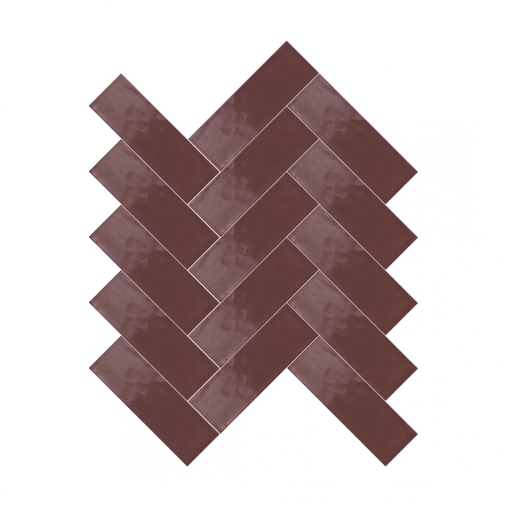 Farrow Emperor Red tiles in herringbone pattern