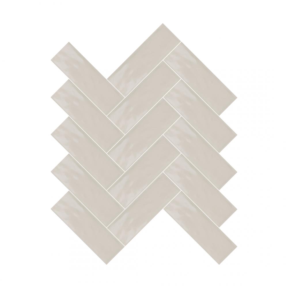 Farrow Paris Light Grey tiles in herringbone pattern