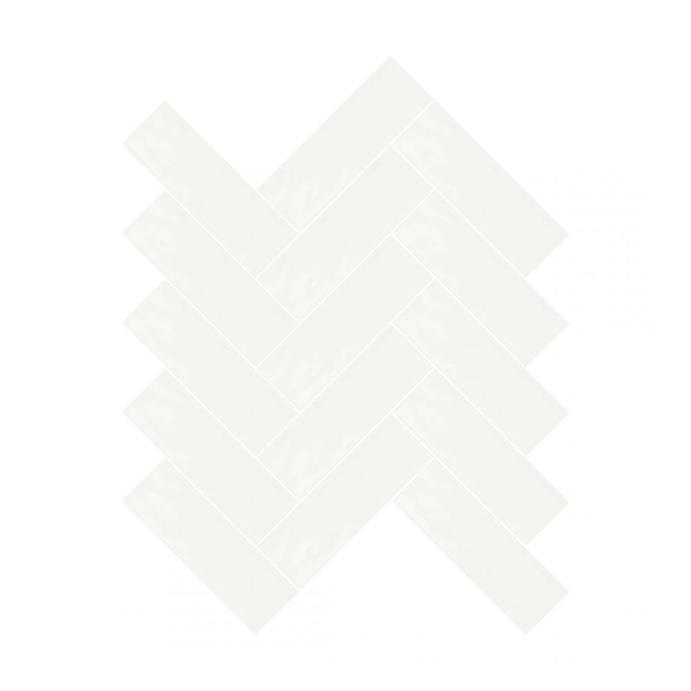 Farrow pure white tiles in herringbone pattern