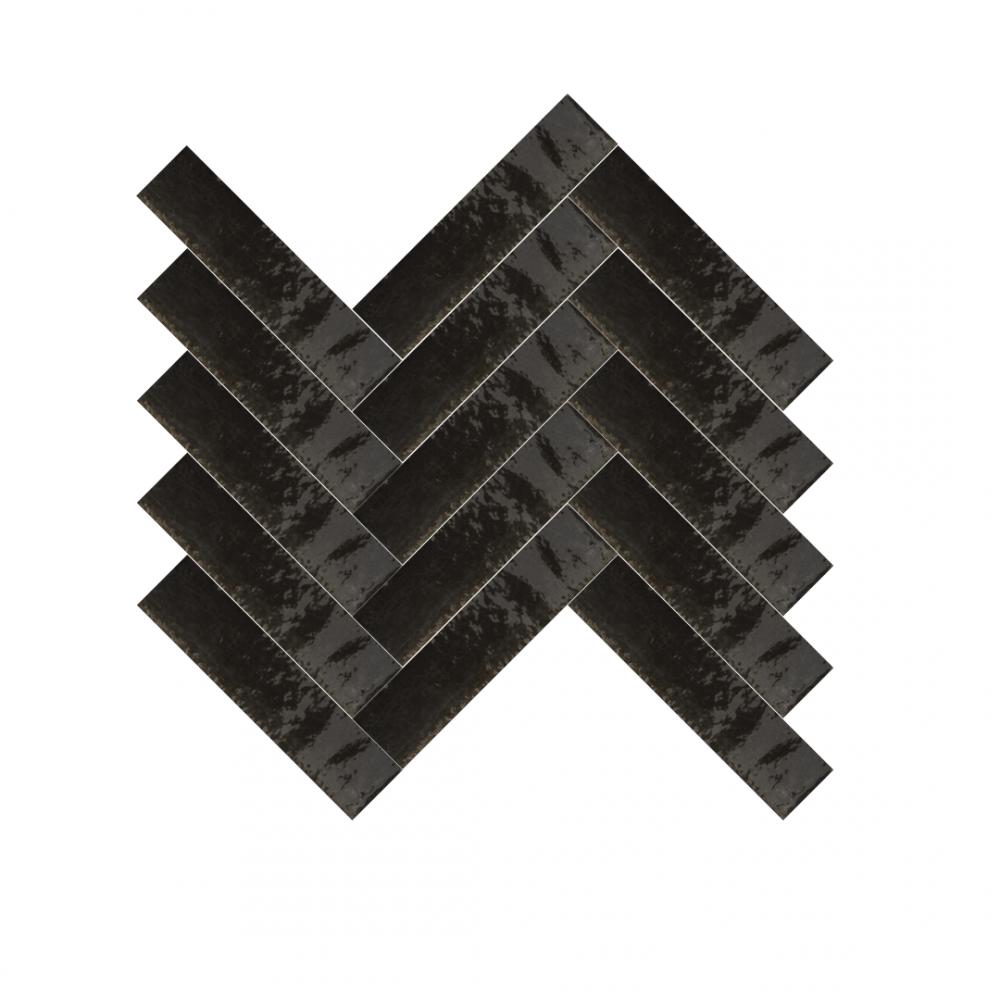 Lume Black tiles in a herringbone pattern