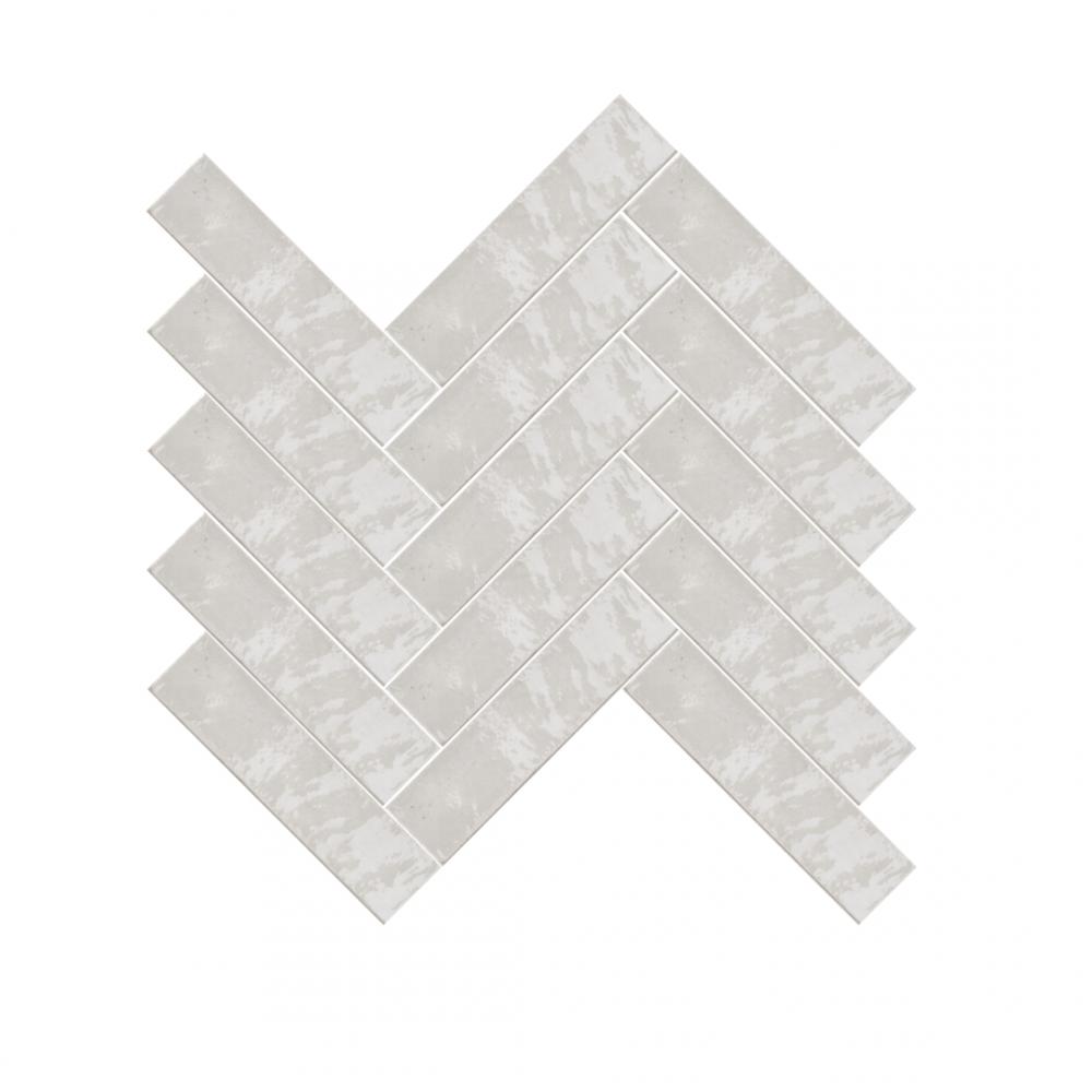 Lume White Metro tiles in herringbone pattern