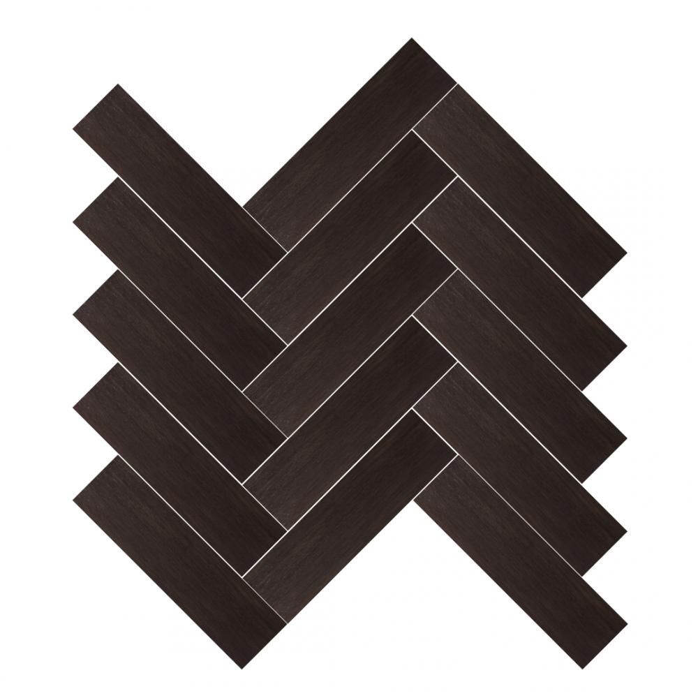 Metalwood Bronzo tiles in herringbone pattern