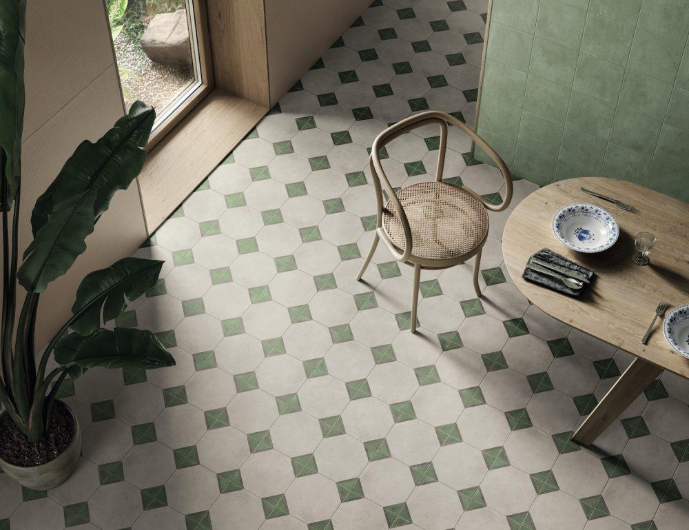 green patterned victorian diamond tiles