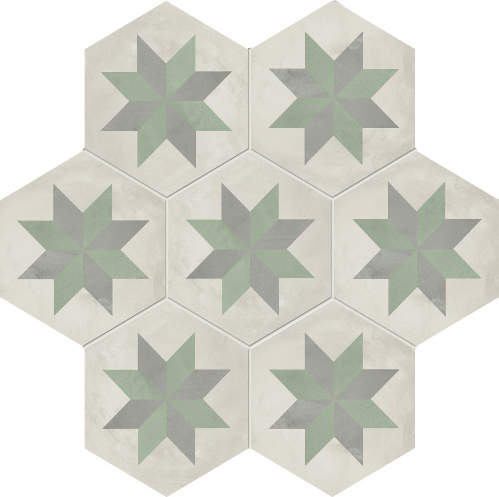 Sage Green Star Hexagon Tiles by Tiles and Mosaics