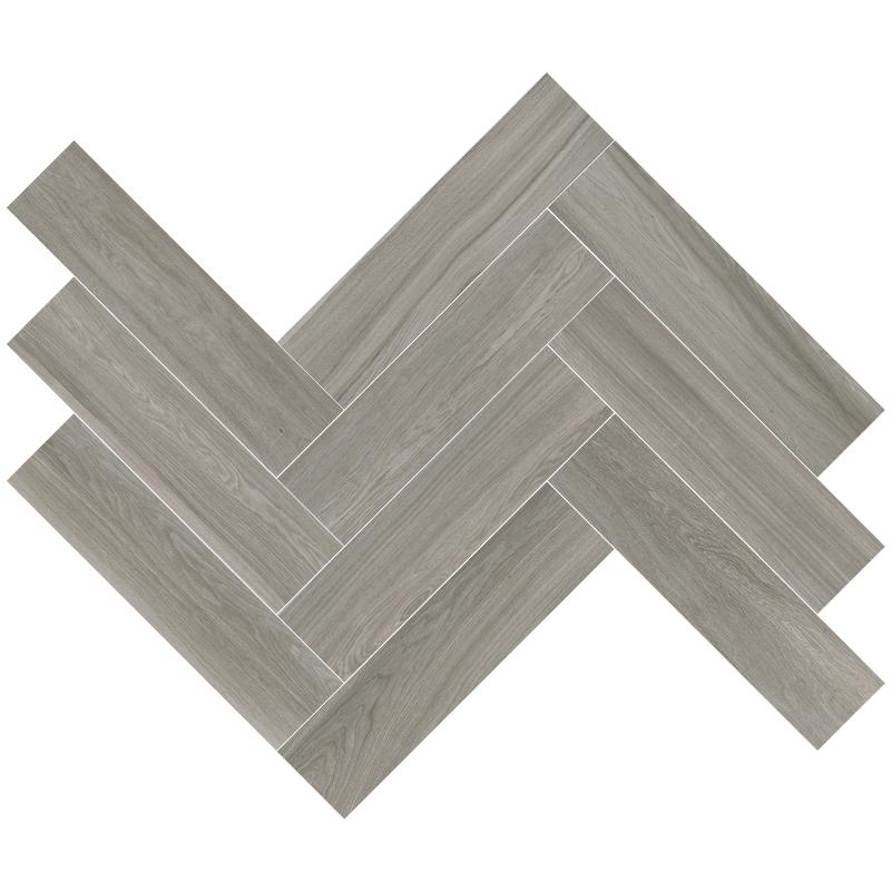 grey wood tiles in a herringbone pattern