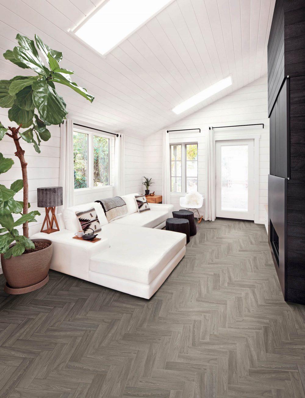 grey herringbone wood effect floor tiles