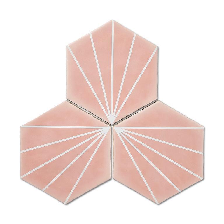 Stripes Pink Lilypad Tiles